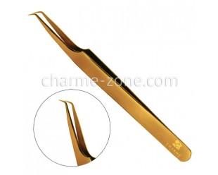 Пинцет Z-тип изогнутый золотой